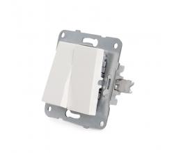 Interruptor Doble Panasonic Karre 10A 250V/Bastidor Metálico con Garras/Tecla Blanca