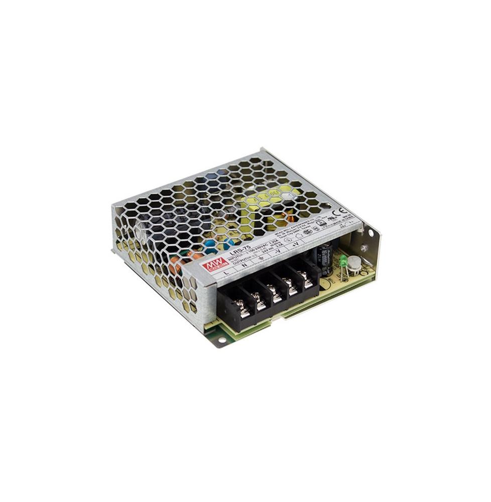 LRS-75-12  Transformador MEANWELL Entrada 85-264VAC Salida 12VDC 6A 72W Aislamiento 3750VAC EN60335-1/IEC/EN61558