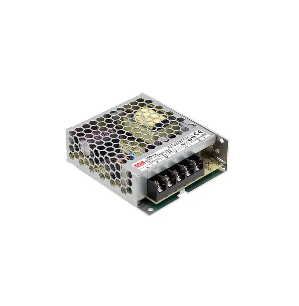 LRS-50-12  Transformador MEANWELL Entrada 85-264VAC Salida 12VDC 4,2A 50,4W  Aislamiento 3750VAC EN60335-1/EN615558
