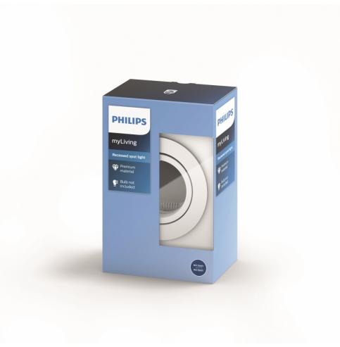 Aro Empotrable Philips Donegal Circular Blanco GU10