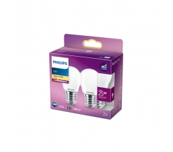 Pack 2 Bombilla LED Philips E27 P45  2.2W 250Lm 2700K [PH-929001345670]