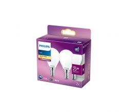 Pack 2 Bombilla LED Philips E14 P45  2.2W 250Lm 2700K [PH-929001345470]