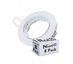 Pack 8 Aro Foco Downlight  Basculante Circular Aluminio Blanco 93Mm